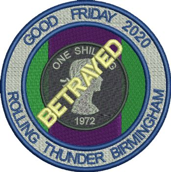 Birmingham Rolling Thunder 2020 - Good Friday embroidered badge